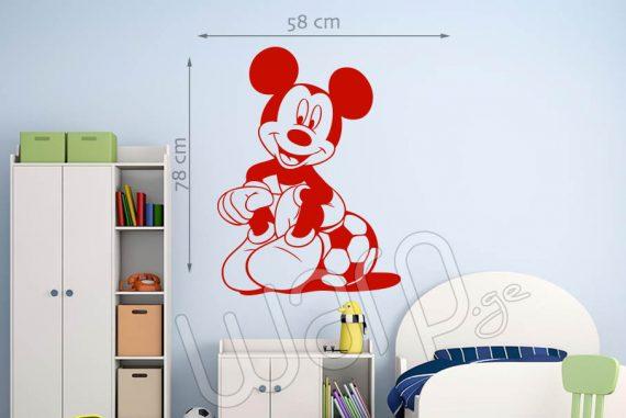 მიკი მაუსი დისნეის მულტფილმის პერსონაჟის კედლის სტიკერი - წითელი - 78x58 - warp.ge