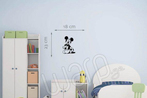 მიკი მაუსი დისნეის მულტფილმის პერსონაჟის კედლის სტიკერი - 23x18 - შავი - warp.ge