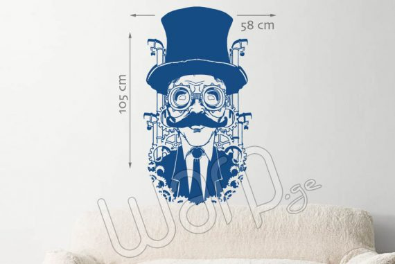 Cartoon Man with Hat Wall Decal - Blue - 105x58 - Warp.ge