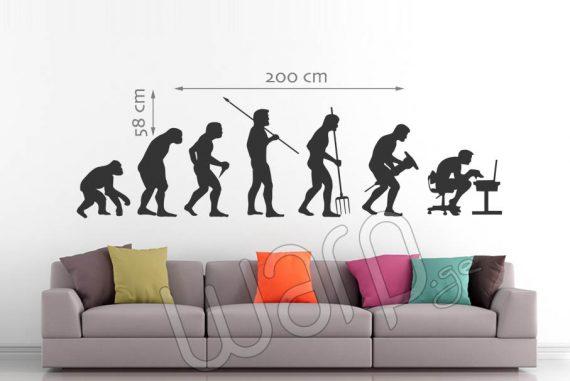 Human Evolution Wall Decal - Black - 200x58 - Warp.ge