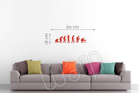 Human Evolution Wall Decal - Red - 60x18 - Warp.ge