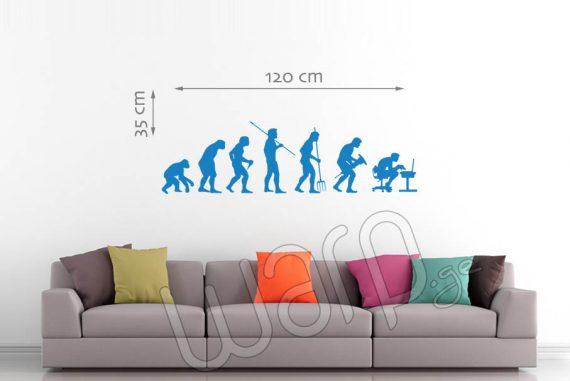 Human Evolution Wall Decal - Sky Blue - 120x35 - Warp.ge