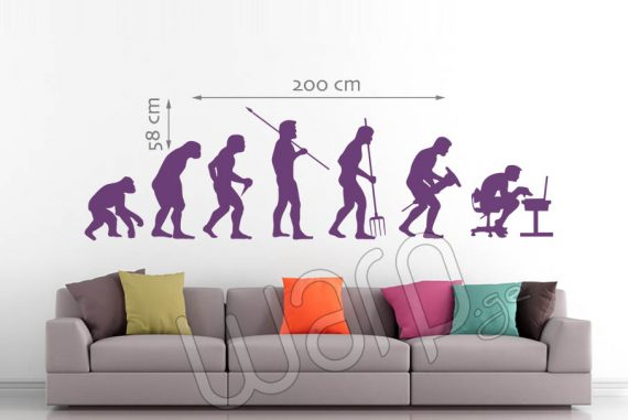 Human Evolution Wall Decal - Violet - 200x58 - Warp.ge