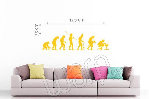 Human Evolution Wall Decal - Yellow - 120x35 - Warp.ge